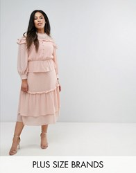 Truly You Victoriana Tiered Midi Dress In Dobby Lace Pink