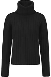 Dkny Ribbed Boiled Wool Turtleneck Sweater Black