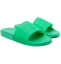 Gucci Logo Embossed Rubber Slides Bright Green