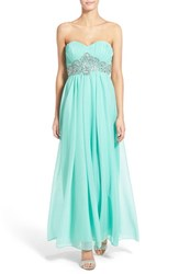 Women's Sequin Hearts 'Jessica' Sequin Waist Strapless Gown