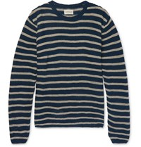 Oliver Spencer Seymour Slim Fit Striped Linen And Cotton Blend Sweater Navy
