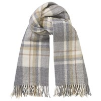 Phase Eight Gigi Tartan Scarf Pale Grey