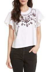 Rebecca Minkoff Women's Embroidered Tee White