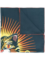 Gucci Angry Cat Print Scarf Women Silk One Size Black