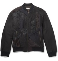 Dries Van Noten Embroidered Panelled Cotton And Linen Blend Bomber Jacket Black