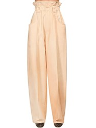 Fendi High Waist Cotton Gabardine Cargo Pants Ivory