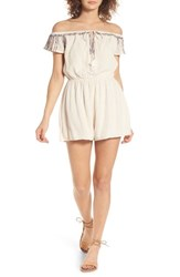 Lush Women's Embroidered Off The Shoulder Romper Vintage Cream