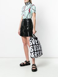 Versus Logo Printed Tote Bag Black