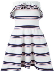 Msgm Stripe Ruffle Dress White