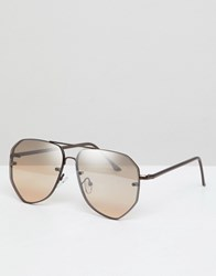 Asos Design Aviator Angled Sunglasses In Brushed Bronze Copper