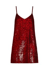 Ashish Sequin Embellished Silk Georgette Mini Dress Burgundy