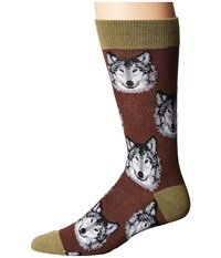 Socksmith Wolf Brown Men's Crew Cut Socks Shoes