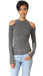 Getting Back To Square One The Cold Shoulder Sweater Dark Grey Melange