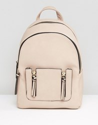 New Look Mini Zip Pocket Backpack Nude Stone