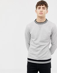 Another Influence Knitted Rib Stripe Crew Neck Sweat Grey