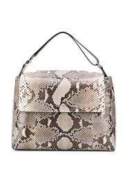 Orciani Snakeskin Effect Tote Neutrals