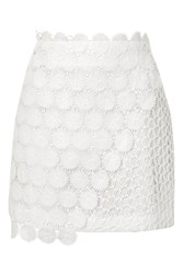 Topshop Wrap Lace Mini Skirt White