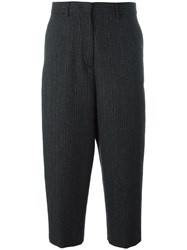Alberto Biani Striped Cropped Trousers Grey
