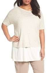Eileen Fisher Plus Size Women's Organic Linen And Cotton Short Sweater Undyed Natural