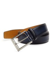 Saks Fifth Avenue Wellington Hand Burnished Leather Belt Ocean