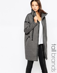 Y.A.S Tall Funnel Neck Cocoon Coat With Double Zip Detail Grey