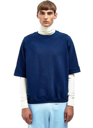 Aiezen Cropped Crew Neck Sweatshirt Blue