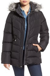 Larry Levine Women's Quilted Coat With Faux Fur Trim Black