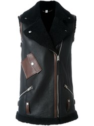 Coach Shearling 'Moto' Vest Black