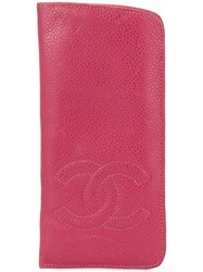 Chanel Pre Owned Stitched Cc Sunglasses Case Pink