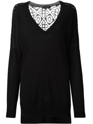 Barbara Bui Sheer Panel V Neck Jumper Black