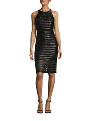 Parker Braelyn Leather Trim Lace Dress Black