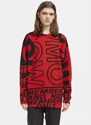 Stella Mccartney Graphic Intarsia Crew Neck Sweater Red