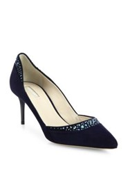 Giorgio Armani Crystal Trimmed Suede Pumps Blue