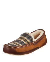 Ugg Ascot Plaid Leather Suede Slippers Brown