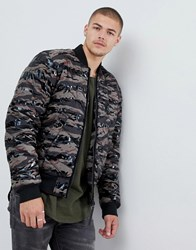 G Star Meefic Quilted Camo Bomber Jacket In Green Smoke Green Dk Vermo