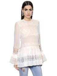 Ermanno Scervino Pleated Silk Georgette And Lace Top