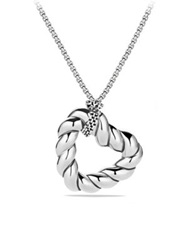 David Yurman Cable Collectibles Heart Pendant On Chain Silver