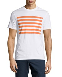 Penguin Short Sleeve Striped Graphic Tee Bright White Orange
