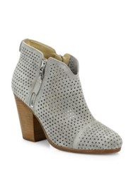 Rag And Bone Margot Perforated Suede Zip Booties Cement Stucco