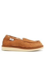Suicoke Comab Shearling Lined Corduroy Slippers Tan