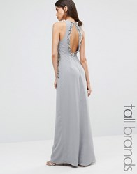 Maya Tall Embellished Maxi Dress With Open Back Dove Grey