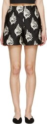 Carven Black Conch Shell Shorts