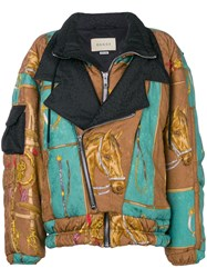 Gucci Oversized Equestrian Print Jacket Brown