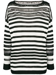 Ermanno Scervino Striped Sheer Detail Sweater Black