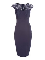 Jessica Wright Lace Bodycon Midi Dress Navy