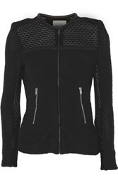 Iro Hurley Leather Trimmed Cotton Blend Tweed Jacket Black
