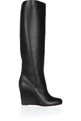 Christian Louboutin Zepita 85 Leather Wedge Boots Black