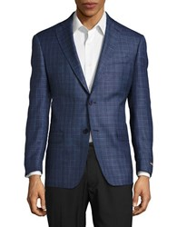 Michael Kors Plaid Suit Jacket Blue