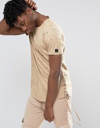 Black Kaviar Distressed T Shirt With Lace Up Sides Beige