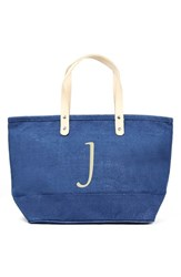 Cathy's Concepts 'Nantucket' Personalized Jute Tote Blue Blue J